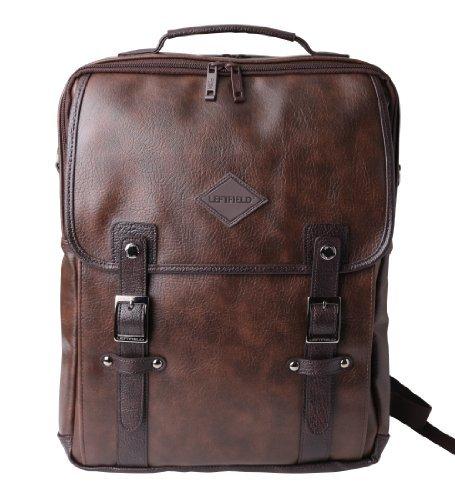 Notebook Rucksack Messenger Bag Tasche Beutel Kunstleder Braun (Brown-leder-bücherregal)