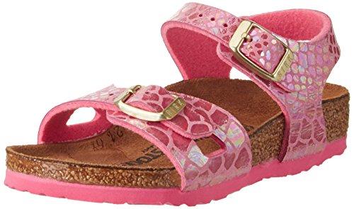 Birkenstock Kids Mädchen Rio Riemchensandalen, Pink (Shiny Snake Pink), 39 EU
