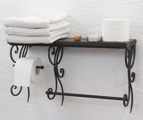 DanDiBo Handtuchhalter Wand Metall mit Holzablage Braun 60 cm HX12992 Handtuchregal mit Toilettenpapierhalter Wandregal Badezimmer -