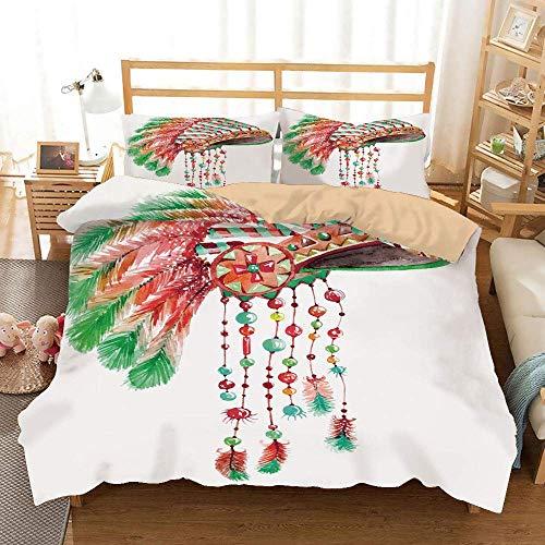 DYCBNESS Feder Khaki Bettbezug Set, Tribal Chief Kostüm Kopfschmuck Indianer Kultur Ethnizität Symbol Dekorativ, Dekorativ 3 teiliges Bettwäsche Set 2 - Unsere Kultur Ist Kein Kostüm