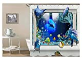 AnazoZ Duschvorhang Anti-Schimmel, Wasserdicht Badewanne Vorhang Antibakteriell, Bad Vorhang für Dusche 3D Unterwasserwelt Delphin, 100% PEVA, inkl. 12 Duschvorhangringen 90 x 180 cm