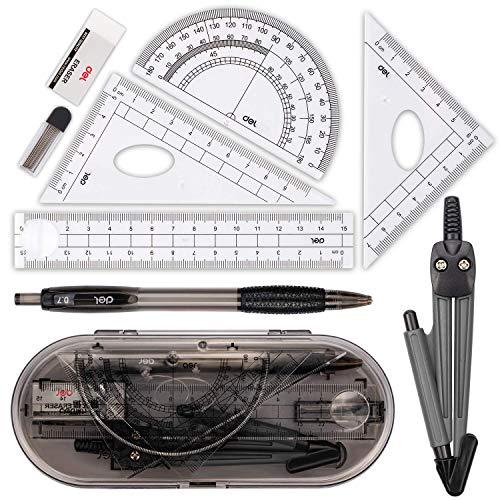 Muscccm Compass Set, Compass für Geometrie Math Geometry Kit 8 Stück - Student Supplies Zeichnung Kompass, Winkelmesser, Lineale, Bleimine Minen, Bleistift, Radiergummi für Studenten