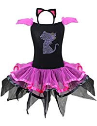 FEESHOW Déguisement Princesse Fille Robe de Soirée Citrouille Chat Costume  Halloween Tutu Tulle Robe de 2eda5257710