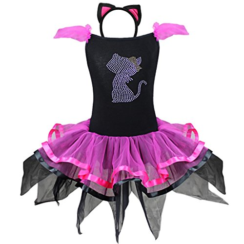 Schwarz Trikot Halloween Kostüme (iEFiEL Katzenkostüm Kinderkostüme Kinder Katze Halloween Kostüm Kleid mit Haarreif für Mädchen 86-128 Schwarz+Rosa)