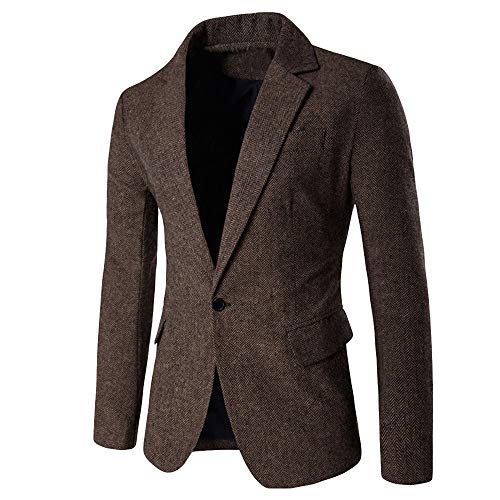 Frashing Herren Sakko Blazer Slim Fit Herren Blazer Sakko Wollmantel Freizeit Blazer Casual One Button Anzug Blazer Mantel Jacke Business Hochzeit Party M-XXL Double Breasted Jacke Aus Denim