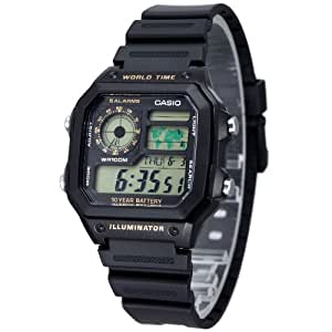 Casio - AE-1200WH-1B - Montre Homme - Quartz Digitale - Bracelet Résine Noir