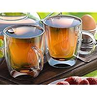 Vetro Tazze di caffè o tè, 350ml, a doppia parete, set di 2, isolante, tè, Cappuccino, Latte bicchieri