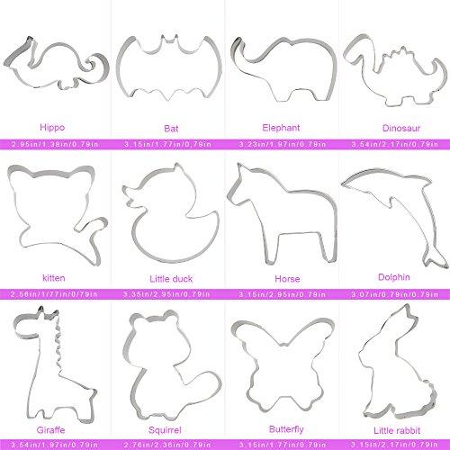 COKOSIM Keks Frucht Cutter Formen Set Mini Ausstechformen Plätzchen Ausstecher, Gemüseschneider Form für Kinder (12 Stück(Tier)) - 7