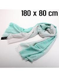 foulard blanc vert motif oriental