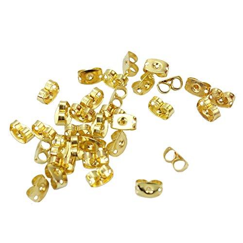 Lot de 100pcs Embouts Fermoirs pour Boucle d'oreille Metal Couleur Or 7x4mm