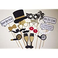Veewon 2018 Nouvel An Party Photo Booth Accessoires 18 pcs DIY Kit Photobooth Prop Masques Moustache Chapeau Rouge Lèvres Lunettes pour Nouvel An Décoration Partie Fournitures