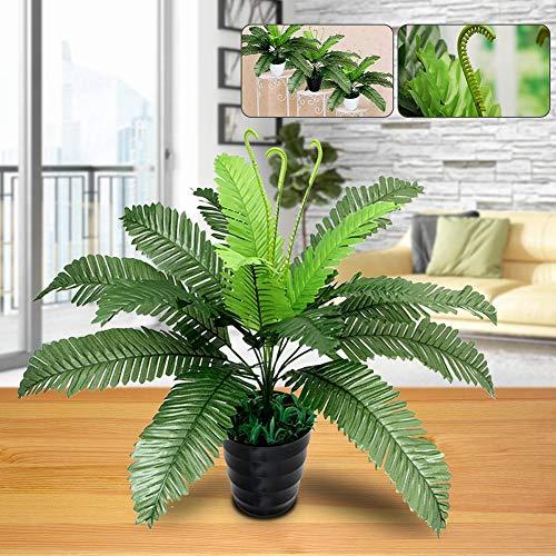 Huhuswwbin Künstliche Pflanzen, künstliche Blumen, 1 Stück künstliche Blattpflanze Grüner Farn für Büro, Zuhause, Garten, Hochzeitsdekoration