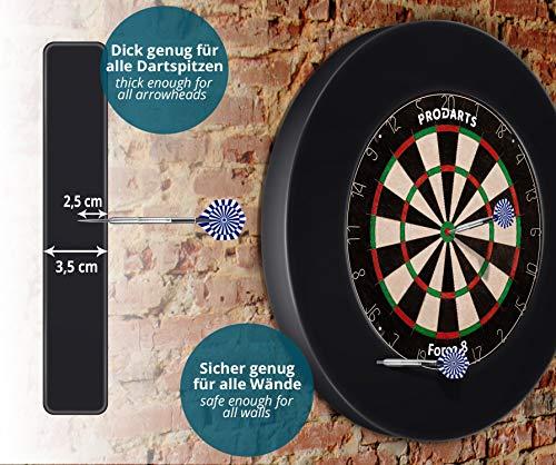 Dart Surround für alle Marken-Dartscheiben – Dart Auffang-Ring in Schwarz – hochwertige stabile Umrandung – Wandschutz für das Dartboard ohne Zusatzbefestigung – professionelle Optik – von ProDarts - 4