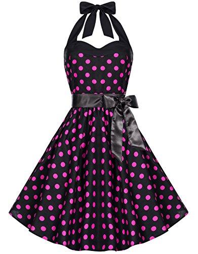 Zarlena, Rockabilly, Vestito vintage con fantasia a pois, con allacciatura al collo Schwarz mit pinken Dots