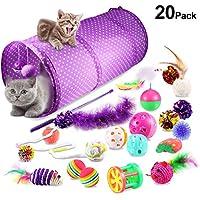 Yosemy Katzenspielzeug Interaktives Spielzeug, 20 Stück Spielzeug für Katzen Inklusive Katzenangel, Interaktiv Ball, 2-Wege-Tunnel, Glöckchen, Knisterbälle, Sisal-Maus, Federnade