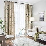 Lianaic Vorhang Pastorale Moderne Benutzerdefinierte Sonnenschutzisolierung Schallschutzvorhänge Wohnzimmer Schlafzimmer Boden Vorhänge Fertig Erker W90*72(228 * 182Cm)