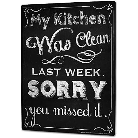 Cartello Targa in Metallo XXL Divertimento cucina pulizia