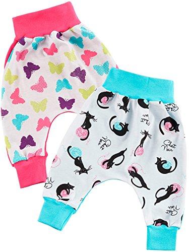 Klekle Baby Mädchen Mitwachshose 2er Set Katze Blau Schmetterling Pink 22769 Größe 98 Pink Collection-pyjama Set