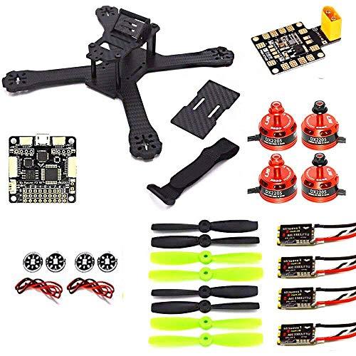 LHI X210 Carbon Fiber FPV Drone Race Quadcopter Frame (4MM) + DX2205 2300KV Brushless Motor + Littlebee 20A Mini ESC + F3 regolatore di Volo Consiglio 6DOF + LED Board + Guardia Motor Protector