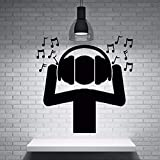 Black Nontoxic Pvc Material Wall Stickers Fan DJ Music Headphones Sound Waves Notes Wall Sticker Home Music Party Decor ZB291