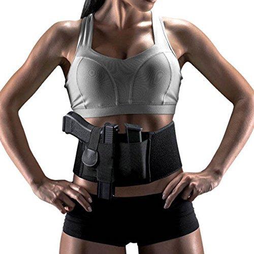 leoso Verstellbare verdeckte Taille Bauchband Gun Holster Elastische Hand tragen Pistole Halter für Pistolen Revolver für Damen und Herren