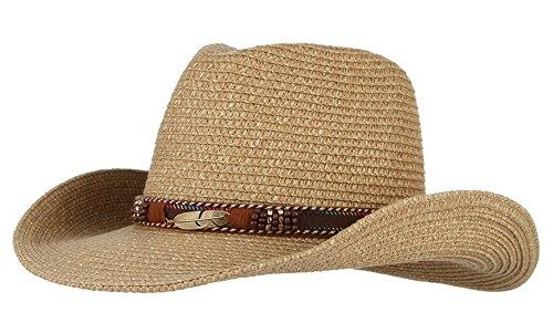 (DEMU Unisex Cowboy Stroh Hüte Formbare Krempe Cowboyhut Strohhut Sonnenhut (Kaffee))