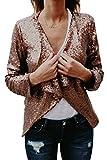 Frauen Eleganten Schal Kragen Lange Ärmel Pailletten Blazer Party - Jacken Gold M