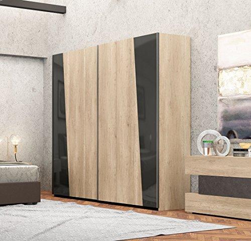 Schrank Türen Schiebetür Farbe natur und grau dunkel TOS _ 01–Einsätze in Glas