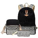 MingTai Backpack Mochilas Escolares Mujer Mochila Escolar Lona Bolsa Casual Para Chicas Bolsa De Hombro Mensajero Billetera Negro