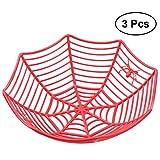 BESTOYARD Ciotole di Halloween Spider Web Ciotole di Plastica Ragnatela Frutta Cestino Ciotola Ragnatela Cestino Halloween Party Decor 3 PZ (Rosso)