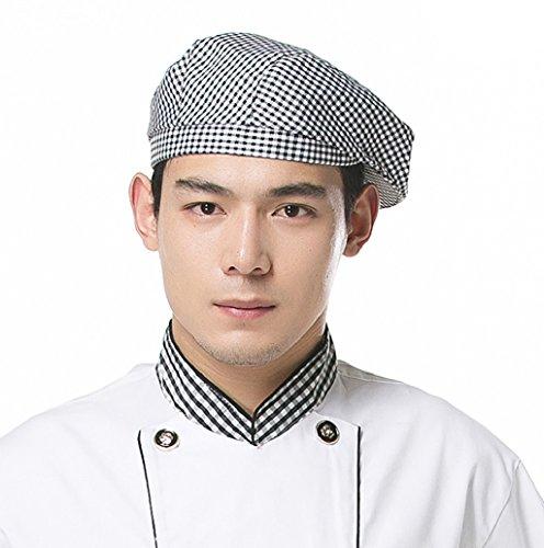 Dairyshop Cappello da cucina del cuoco unico di Catering della cucina degli uomini delle donne di modo cuffie del berreto di Duckbill (rosso vino) bianco e nero