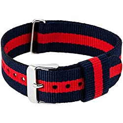 """RE:CRON women wristband watch nylon with stainless steel clasp 18 mm 0.71"""" wide compatible with Daniel Wellington watches - dark blue red"""