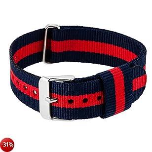 RE:CRON Cinturino da donna in nylon con fibbia in acciaio inox 18 mm di larghezza compatibile con il cinturino Daniel Wellington - nylon blu oltremare e rosso