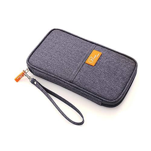 Fashion Ticket Passport Kreditkarte ID Dokument Organizer Inhaber Tasche Geldbörse Reisetasche Case Cover (Hanf grau) -