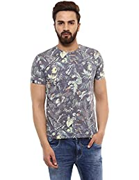 Mufti Round Neck Printed Grey Half Sleeves T-Shirt