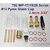 CHNsalescom 21 pcs TIG Welding 45V26 Gas Lens #13 Pyrex Cup Kit for Tig WP-17/18/26 3/32