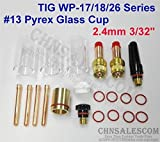 CHNsalescom 21 pcs TIG Welding 45V26 Gas Lens #13 Pyrex Cup Kit for Tig WP-17/18/26 3/32