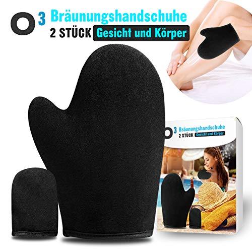 O³ Bräunungshandschuh + Finger Applikator aus hochwertigem Samt // Selbstbräuner Handschuhe // Self Tanning Mitt - Applikatorhandschuh Gesicht und Körper -
