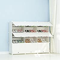 JOISCOPE PREMAG Plastic Portable Shoe Storage Organzier Tower, Wooden Pattern, Modular Cabinet Shelving for Space Saving, Shoe Rack Shelves for shoes, boots, Slippers (3 * 5-tier)