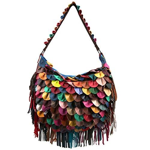 Ausverkauf-Yaluxe Damen echtes Leder Tassel Fringe bunt Schultertasche Cross Body Handtasche -