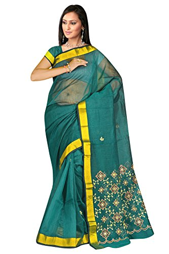 Rama green thread work plain cotton sarees