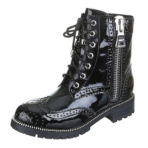 Damen Schuhe, LAURA, BOOTS Schwarz Silber LENA
