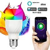 RQINW Wi-Fi-Glühbirne E27 11W Equ 60 W Äquivalente Edison-Birne, LED Dimmable 600LM, Smartphone-Fernbedienung Und Sprachsteuerung Von Amazon Alexa Und Google Home (Warmes Weiß 220 V) 2Er Pack
