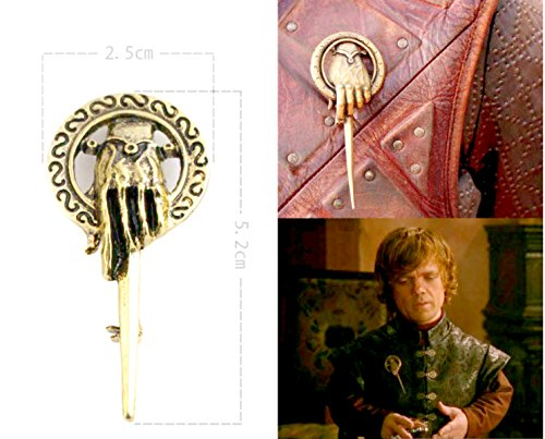 "Price comparison product image Buy any 2 & get 1 FREE! 5 cm Small Antique ""Yellow Gold"" Game of Thrones Brooch Pin Badge Hand To The King Tywin Lannister GOT Dragon Steampunk Song Ice Fire Lapel And Metal Stark Silver Replica Unique Fashion Jewellery Silver or Gold Double Vintage Hot Fashion Trend (5 cm Small Antique Yellow Gold)"