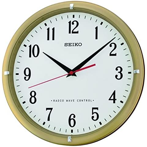 Seiko Radio Controlled Gold Tone Finish White Dial Black Numerals Wall Clock by Seiko
