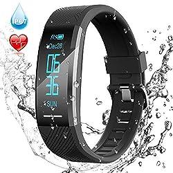 AGPTEK Fitness Tracker Braccialetto Bluetooth Impermeabile con Contatore Passi, Monitor Ritmico, Calorie, Sonno ECC per Uomo Donna Bambini, Nero