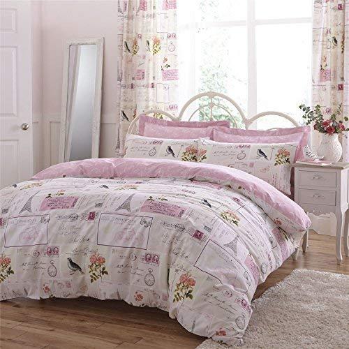 Paris Flickwerk Rosa Creme 144 TC Baumwollmischung Doppelbett Bettwäsche
