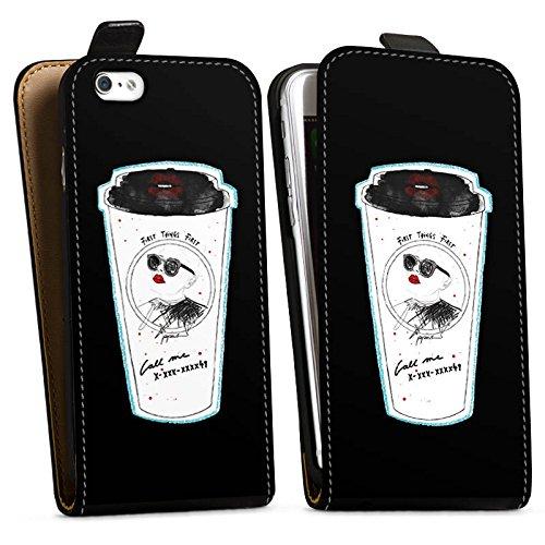Apple iPhone X Silikon Hülle Case Schutzhülle Kaffee Becher Comic Downflip Tasche schwarz