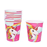 Flybuild® Unicorn Theme Party Decoration Bunting Banner Paper Cup Plated Hat Popcorn Box, Kids Party Supplies & Decorations (10pcs Unicorn Paper Cup)