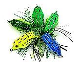 #10: HENGJIA 5pcs soft plastic frog lures top water fishing baits salmon sneakhead treble hooks artificial fishing tackles 5cm 8g